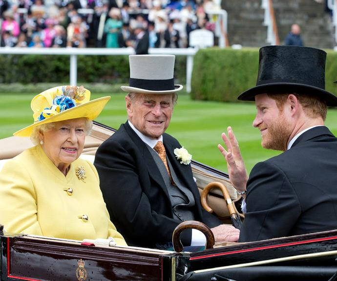 In true Ascot tradition, the British royals donned their very best hats. For Prince Philip and Harry, a top hat was imperative.