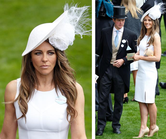 Hollywood royalty Elizabeth Hurley also stepped out for the exciting day, wearing a summery white frock and standout fascinator.