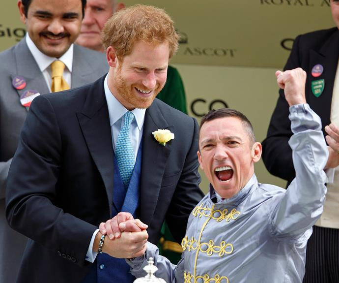 Prince Harry presents jockey Frankie Dettori with the first place cup. **Find out why Royal Ascot means so much to The Queen in the next slide!**