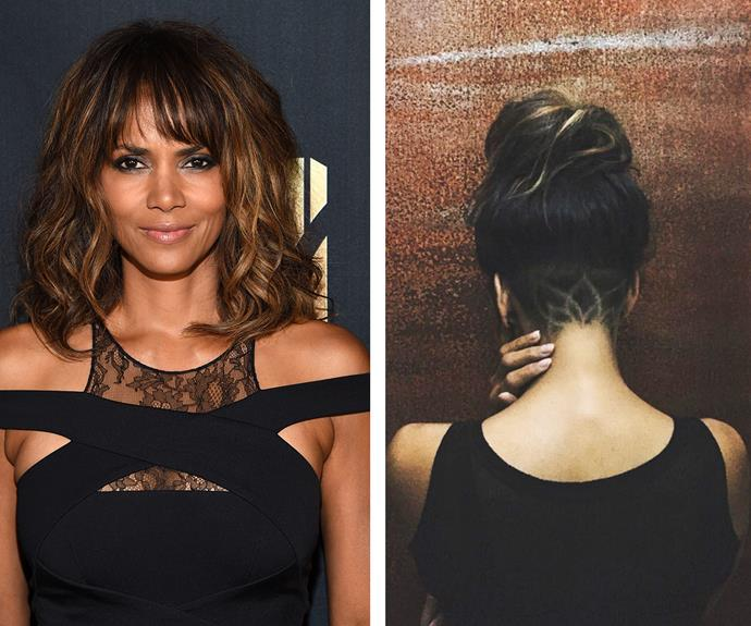 "Stepping it up a notch, the stunning Halle Berry buzzed a lotus flower into her undercut. ""AND FOR MY NEXT TRICK…,"" penned the 49-year-old alongside the Instagram reveal."