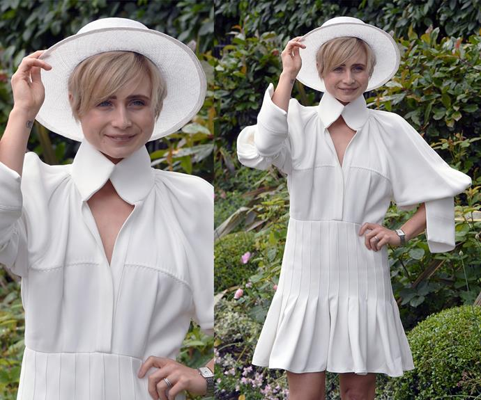 Aussie actress Tessa James cut a stylish figure in this white Ellery dress, which she teamed with a wide-brimmed hat.