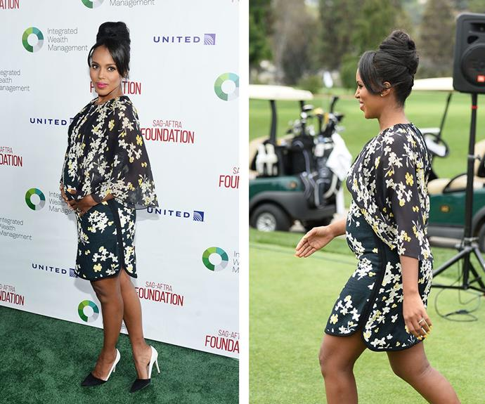 Showing off her growing belly in a floral minidress Kerry Washington, who is pregnant with her second bub, stepped out to accept the Actors Inspiration Award at the SAG-AFTRA Foundation 7th annual Golf Classic Fundraiser in California this week. **Watch the actress open up on acting while pregnant in the next slide!**