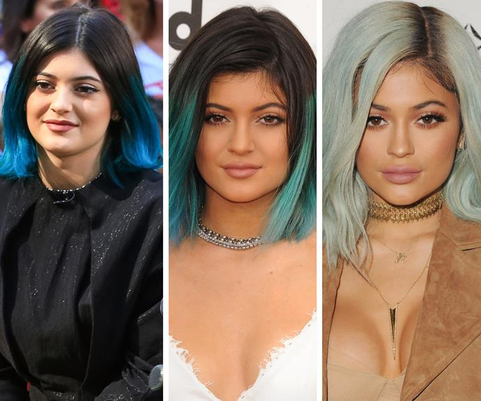 Kylie is no stranger to rainbow locks, regularly dying or adding a wig to mix up her revolving hairstyles. **Watch her work her new 'do in the video in the next slide... Gallery continues!**