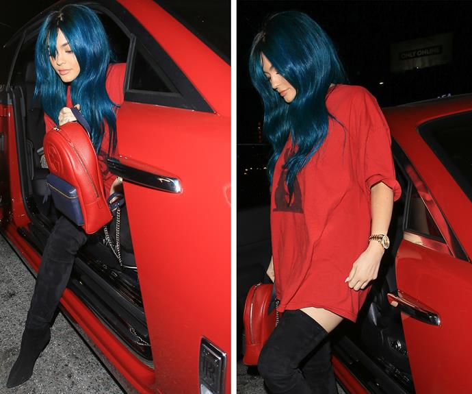 We're assuming she's rocking a wig. Clearly the Kardashian clan's biggest chameleon was revving up to have a fab night out, completing the look with a T-Shirt and thigh-high boots.
