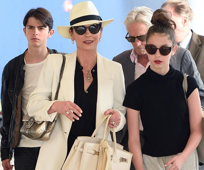 The Douglas clan were recently spotted in London airport with their two kids. The family are very private and rarely make public appearances, clearly time has not stood still in the Jones-Douglas household, with both kids looking very grown up.