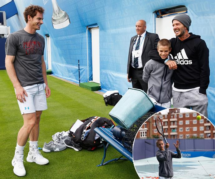 The little teen even tried his hand at the sport while tennis great and new dad Andy Murray watched on!