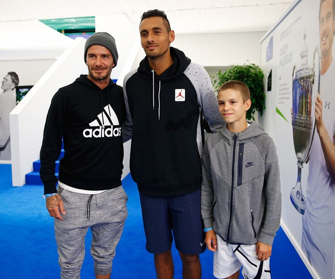 The sweet 13-year-old and his dad, 41, posed with Aussie bad boy, tennis champ, Nick Kyrgios.