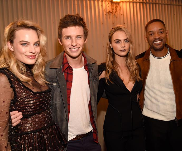 Eddie took time to hang with the cast of *Suicide Squad*, including Margot Robbie, Cara Delvingne and Will Smith, before his new baby was born.