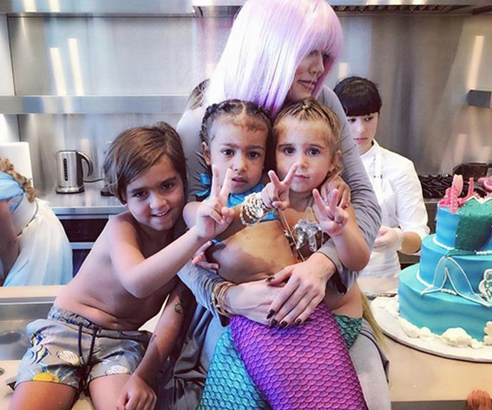 Kim and Kourtney Kardashian threw  their darling tots, Penelope Disick and North West, a joint mermaid themed birthday party.