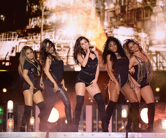Dressed to the nines in their best knee-highs, American girl group Fifth Harmony owned the stage with their sultry performance of *Work From Home*.