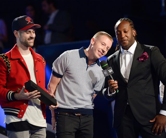 Macklemore & Ryan Lewis couldn't wipe the proud smiles off their faces as they accepted the award for International group of the year.