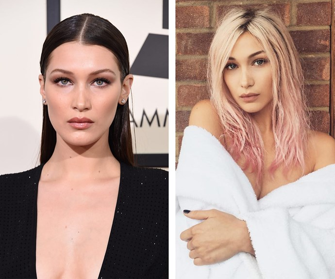 Gigi, is that you? Bella Hadid has traded in her usual dark locks for a platinum blonde and bubblegum pink 'do!