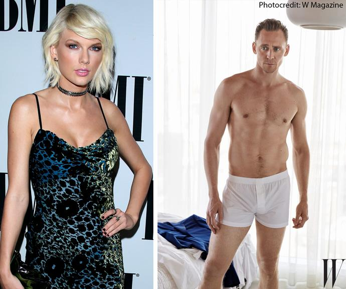 No wonder he has Taylor hooked! Tom Hiddleston, 35, recently posed for *W* magazine in nothing but his trunks. The actor, who is speculated to play the next James Bond, was snapped kissing the *Bad Blood* singer in Rhode Island last week, not long after her split from Scottish DJ Calvin Harris.