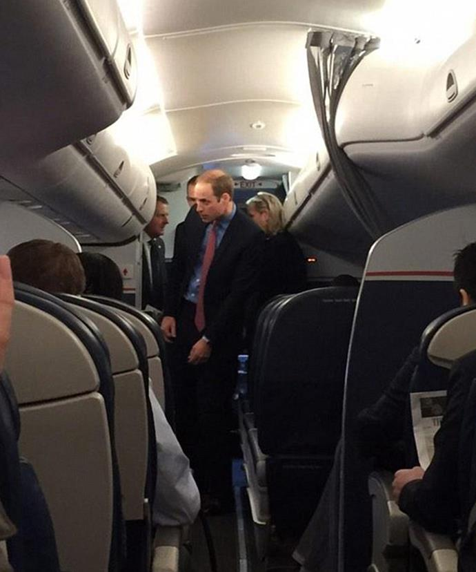 The people's Prince! Wills previously flown economy class from New York to Washington DC in 2014.