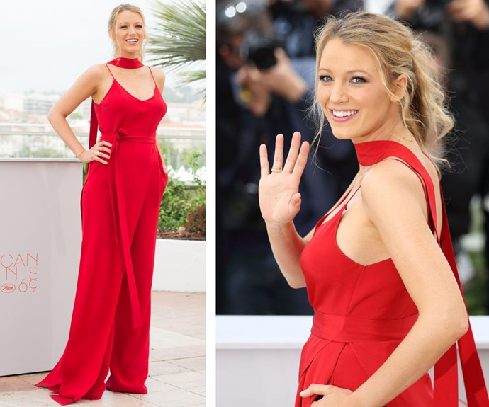 The lady in red! Blake sure knows how to dress up for any occasion.