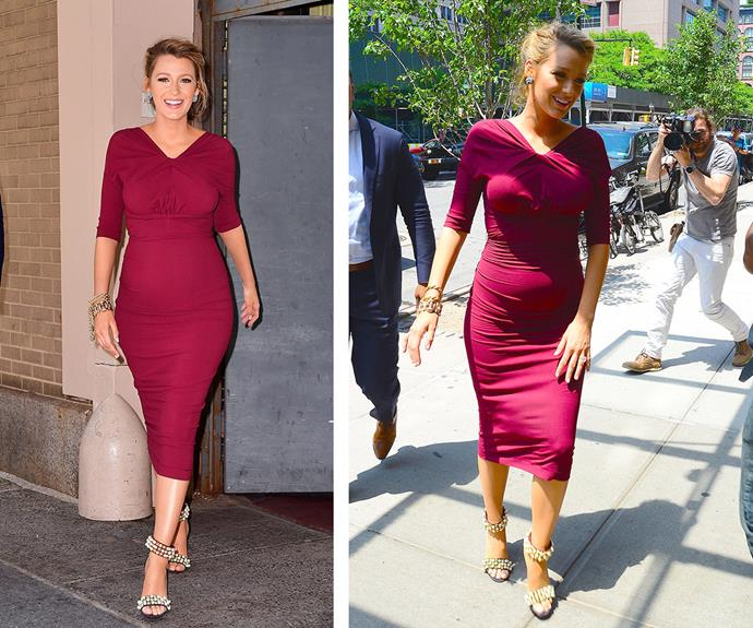 In the same day, the A-lister also opted for a tight, burgundy dress that showed off the curves of her burgeoning bump.