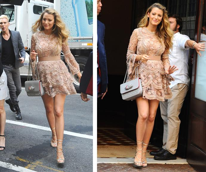 Proudly showing off her long legs, the hot mama stepped out in this bedazzled rose gold frock.