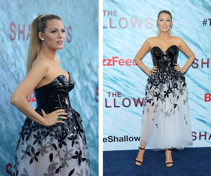 The stunning blonde stepped out in this edgy tutu for the premiere of her new film *The Shallows* in New York City.