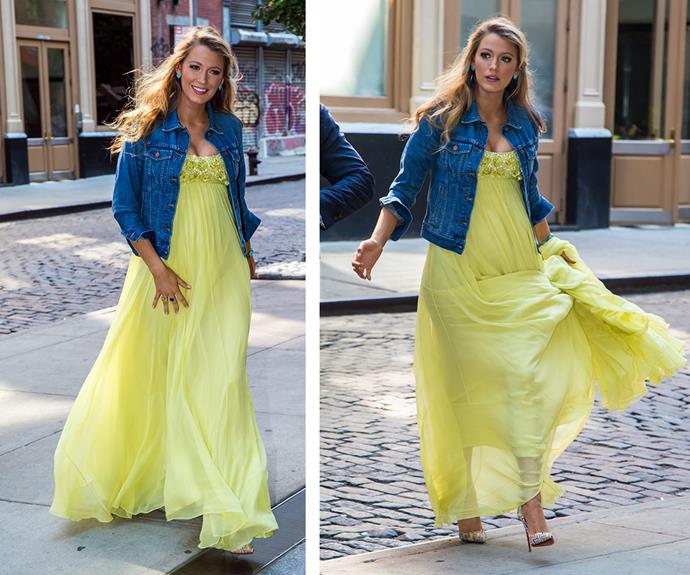 In the same day, Blake stepped out a canary yellow dream in this flowing, embellished maxi-dress paired perfectly with a denim jacket.