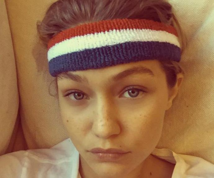 Gigi Hadid celebrates her freckles with her 2.5 million Twitter followers.
