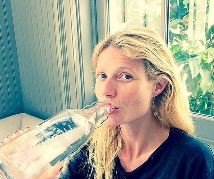 """Gwyneth Paltrow shared this bare-faced snap, revealing the secret to her clear complexion. """"Full of healing power. #iLoveWater"""""""