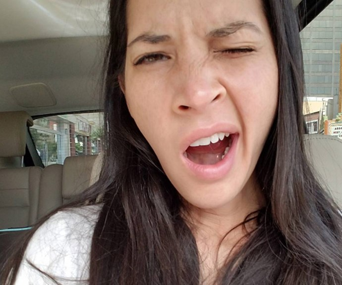 "The morning after the 2016 Oscars, Olivia Munn uploaded a pic this sleepy drive to the jewelers. ""When you get home at 6am but have to give the jewels back at 10am. 😪 #yawn"""