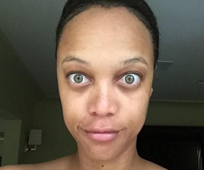 "Tyra Banks shared this no filter selfie with a telling caption about body image. ""This morn, I decided to give you a taste of the really real me. So...here I am. Raw. And there YOU are...looking at me, studying this picture. Maybe you're thinking, ""Whoa, she looks ROUGH."" And if you are, great! You deserve to see the REAL me. The REALLY real me."""