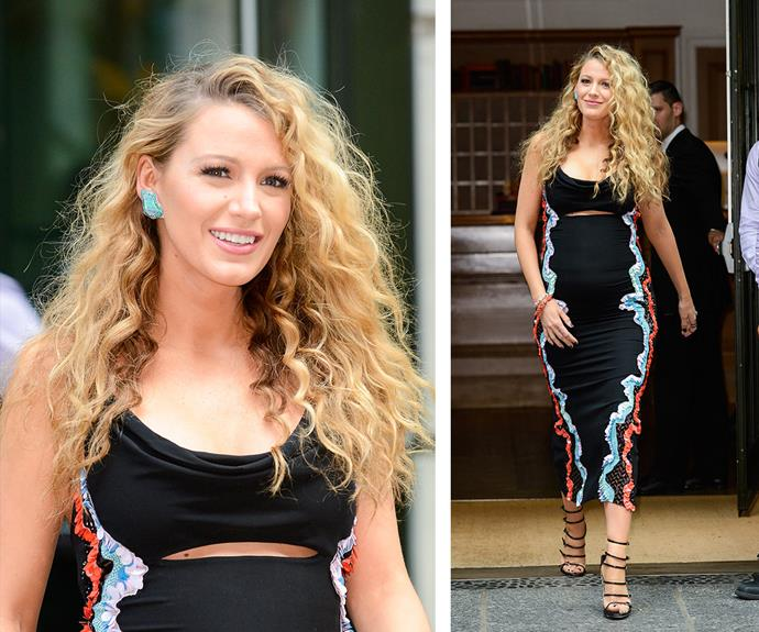 On June 22, the pretty blonde was spotted leaving her New York hotel in this stunning, detailed midi dress complete with strappy shoes.