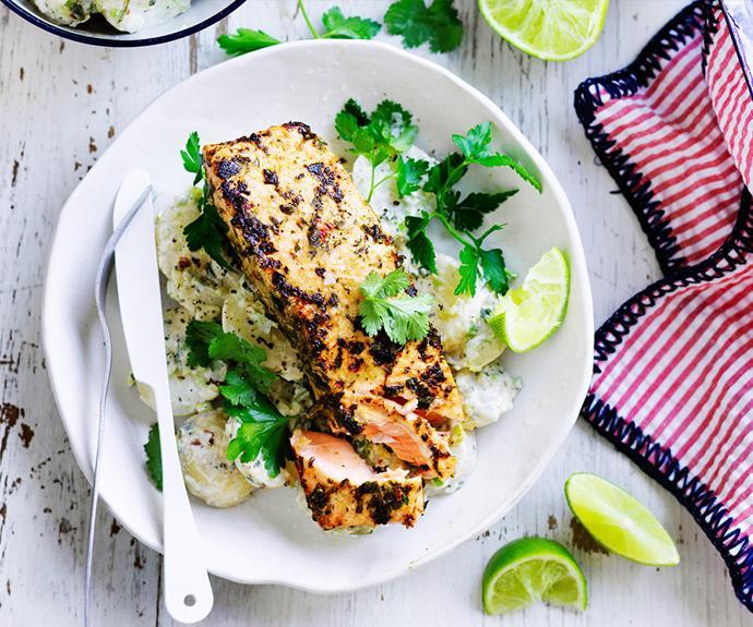 "Impress guests with [jerk salmon with yoghurt potatoes.](http://www.foodtolove.com.au/recipes/jerk-salmon-with-yoghurt-potatoes-18553 target=""_blank"")"