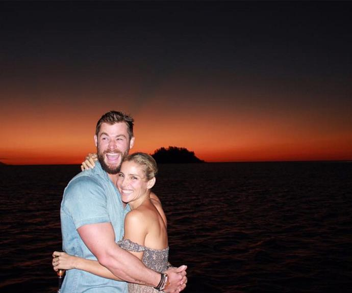 """""""Sunsets and laughs!!"""" the blonde beauty captioned alongside this loved-up snap in Queensland's Hayman Island."""