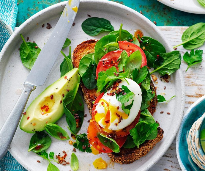 Try eating only what you need. This poached egg and avocado bruschetta will fill you up, without the added calories!