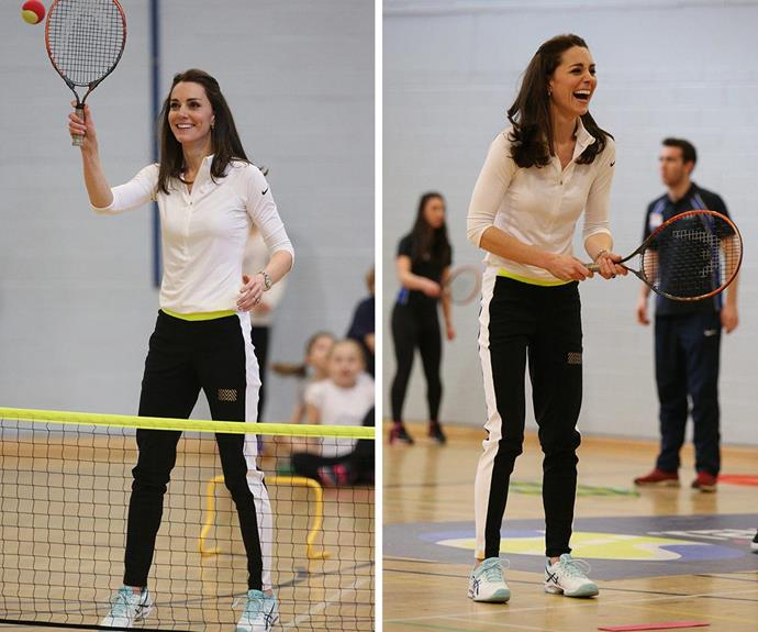 The active mum was right at home on the court!