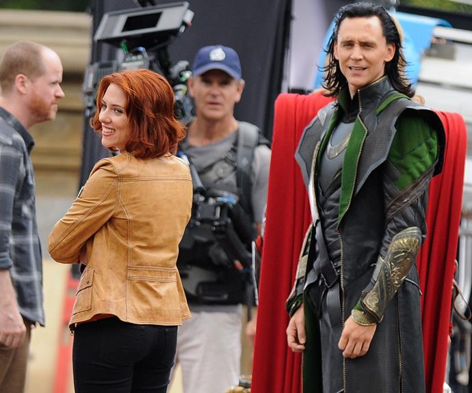 The Avengers was ScarJo's top-grossing movie (pictured here on set with Tom Hiddleston).