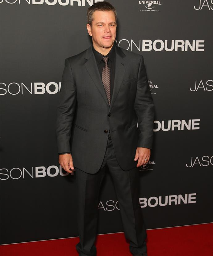 Matt Damon looked every inch the super spy at the premiere.