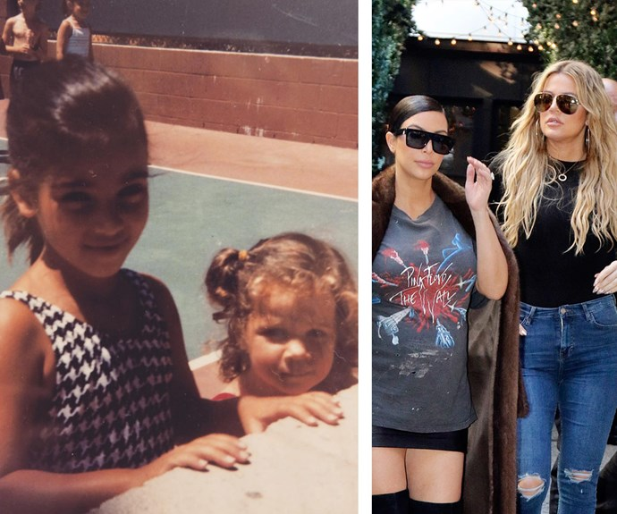 """To celebrate Khloe Kardashian's 32nd birthday, sister Kim posted this amazing vintage snap of the two alongside the sweet caption, """"You constantly surprise me with your strength and determination. I've learned so much from you in this life time, I'm so proud to call you my sister and best friend!"""""""
