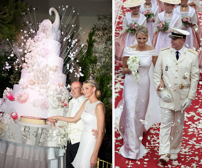 Charlene dazzled the world in her Charlene in a silk Giorgio Armani bridal gown. The dress, which required months of handiwork, was cut from 130 metres of silk, studded with 40,000 crystals and embellished with 20,000 teardrops fashioned from mother-of-pearl.