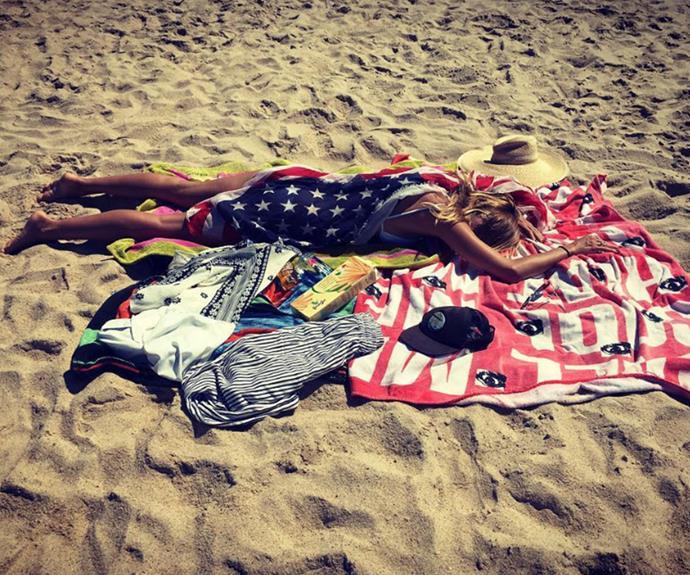 Heidi Klum got into the spirit with a stars-and-stripes towel.