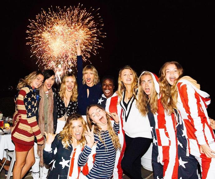Taylor Swift finished the night with fireworks and another star-studded group photo with her famous besties - including *Orange Is The New Black* stars Ruby Rose and Uzo Aduba, models Gigi Hadid and Cara Delevingne, actresses Halston Sage and Blake Lively and singer Este Haim.