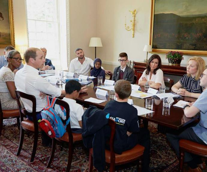 Prince William met with people of all ages to discuss his anti-bullying initiative.