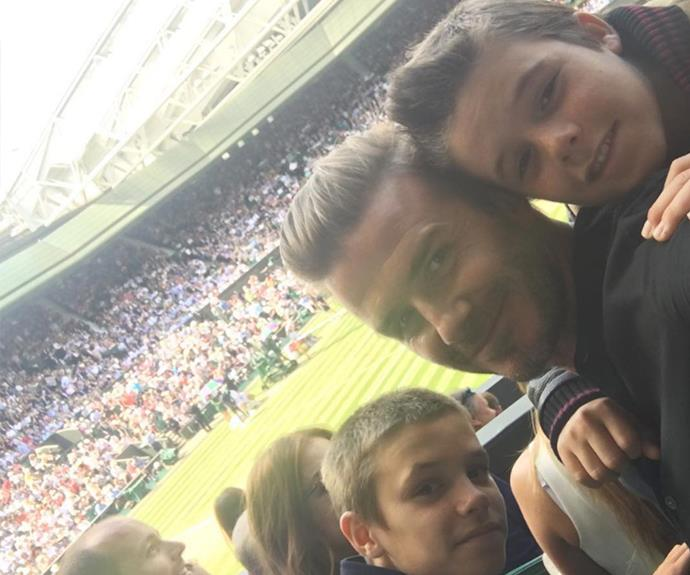 """Boys day out at Wimbledon ... Watched Roger the genius & now it's Andy's turn ... 🎾 come on Andy,"" the proud papa shared."