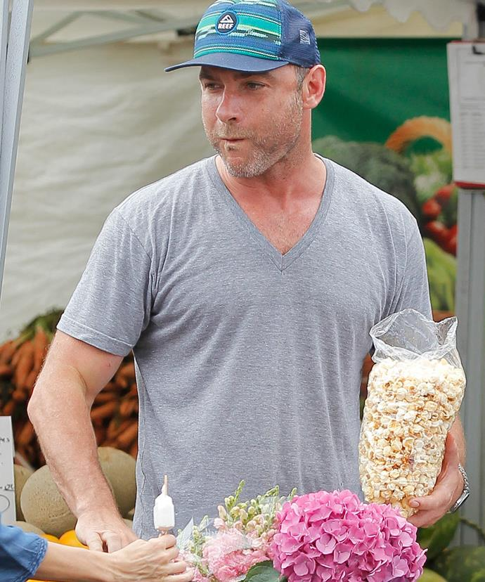 Liev's market essentials: popcorn and hydrangeas!