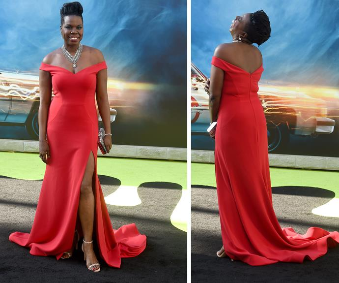 "She may have been worried about finding an outfit but Leslie Jones was an enchantress in this off-the-shoulder red number. ""I feel amazing! Christian Siriano hooked me up,"" the 48-year-old gushed on the red carpet about her one-of-a-kind design."