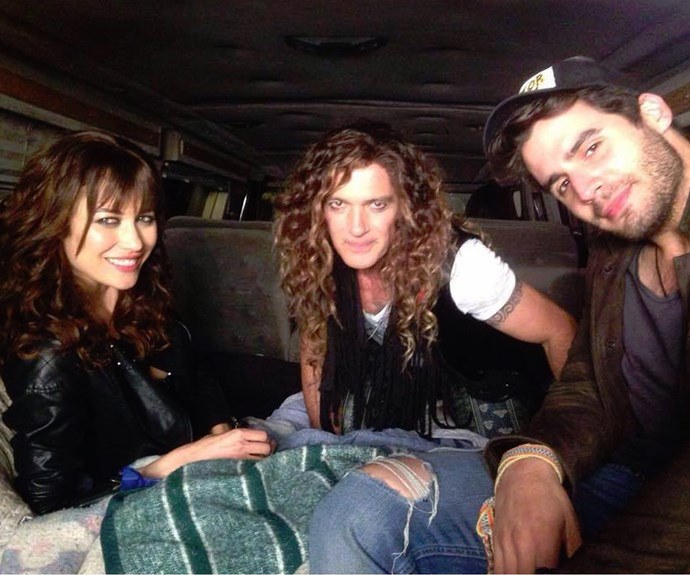 """Sharing this onset snap, he said """"With my shooting pals: Olga Kurylenko and Ben Cura. #Saltymovie."""" With his shaggy hair and heavy eyeliner, he's almost unrecognisable!"""