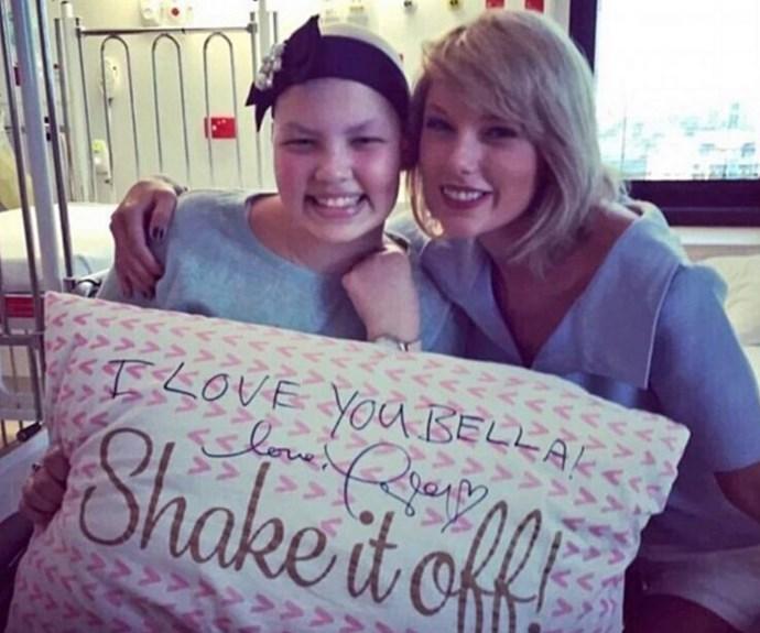 Bella was beyond thrilled when her idol Taylor showed up. (pic credit: @stylekickingcancer Instagram)