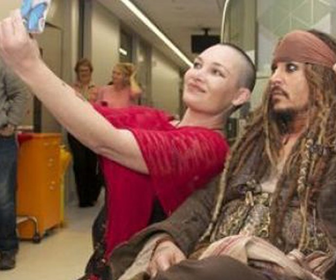 Johnny Depp got into the selfie action while he was at Lady Cilento.