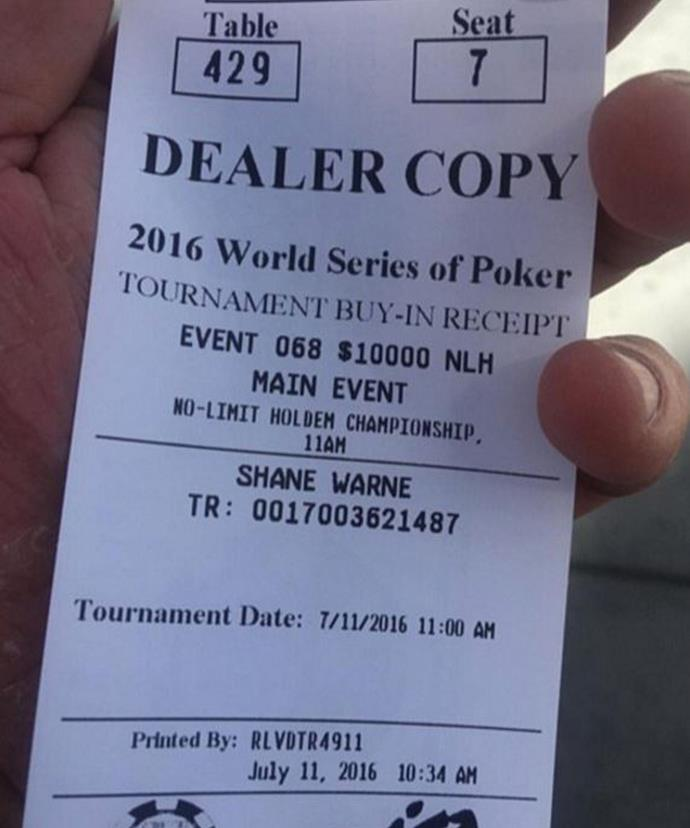 Check out the price on Shane's entry ticket! Turns out losing doesn't come cheap.