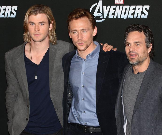 The couple were joined by Tom's *Avengers* co-stars, Chris Hemsworth and Mark Ruffalo.