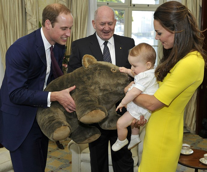 George was chuffed when he was given an oversized wombat from the Australian Governor-General Peter Cosgrove during the Cambrdige's tour of Australia three years ago.