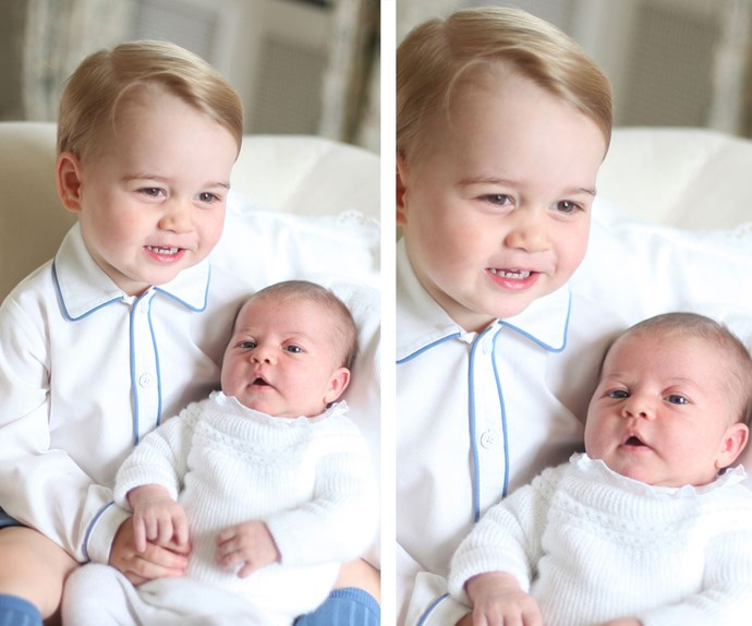 Cuddles galore! Little Georgie is a doting big brother who loves giving kisses for his darling sister, Princess Charlotte Elizabeth Diana of Cambridge.