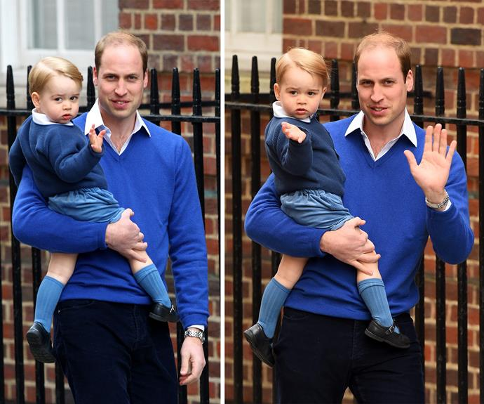 Is there anything sweeter than father-son dressing in coordinating blue ensembles?